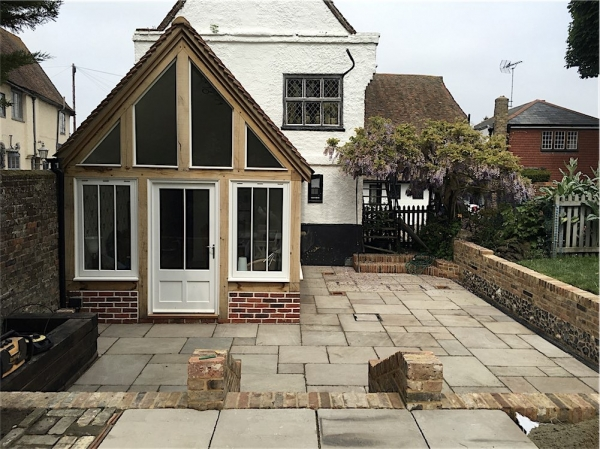 Timber Frame Garden Room Extension and Terrace, Wingham